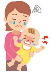 泣く赤ちゃんと困るお母さん