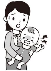 泣く赤ちゃんとお母さん 白黒