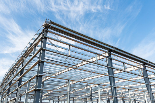 steel structure workshop with blue sky