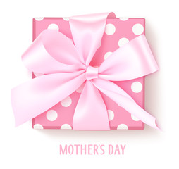 Vector gift box with pink bow isolated on white. Holiday decoration for Mother's Day decor.