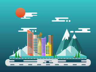 city flat scene design with building apartment and forest mountains. landscapes Vector illustrations