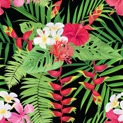 Tropical seamless pattern with hibiscus, plumeria flower and heliconia rostrata on black background. Vector set of exotic tropical garden for holiday invitations, greeting card and fashion design.
