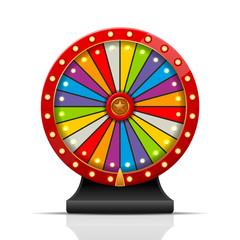 Vector illustration of colorful wheel of fortune isolated on white background.