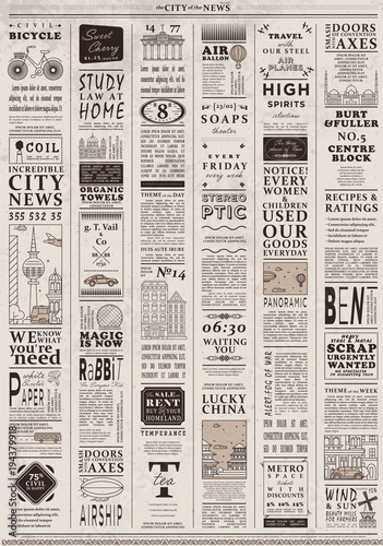 Design Of Old Vintage Newspaper Template Showing Articles With