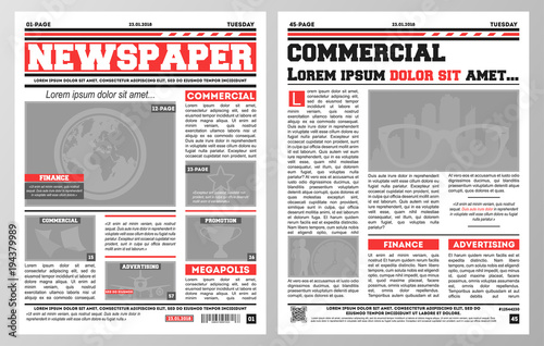 design of daily newspaper template with two pages opened and showing