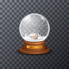 Picture of glass snowball with small house and trees inside.