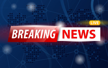 Vector illustration of Breaking News Live logo banner on blue map of world.