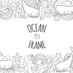 Graphic frame whales flying in the sky. Sea and ocean creatures. Coloring book page design for adults and kids