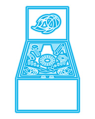 retro arcade screen pinball game machine vector illustration blue neon line design