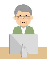 シニア男性 おじいちゃん PC