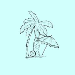 Travel vacation background. Palma, surfboard, ball, umbrella. Sketching by hand