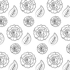 pattern flowers and leaves floral wallpaper texture vector illustration dotted line image