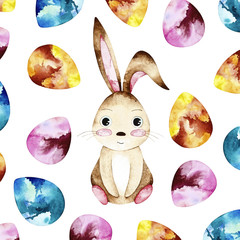 Watercolor easter postcard. Card with colorful eggs and easter bunny.  Perfect for you postcard design,invitations,projects,wedding card,poster,packaging.
