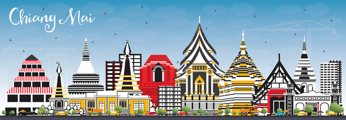 Chiang Mai Thailand City Skyline with Color Buildings and Blue Sky.