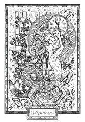 Zodiac sign Capricorn with ivy, tower and lucky numbers. Hand drawn fantasy graphic vector illustration in frame. Black and white doodle mystic drawing with engraved horoscope symbol