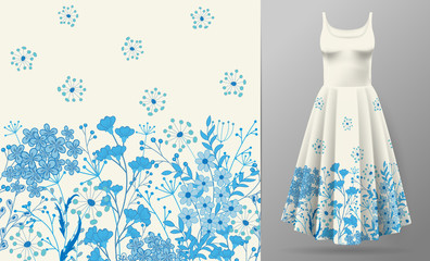 Cute pattern in small simple flowers. Seamless background and seamless border. An example of the pattern of the dress mock up. Vector illustration. Blue on white.