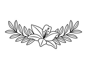 cute flower and branch with leaves foliage decoration vector illustration outline desing