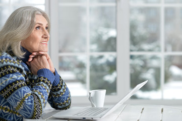 Senior woman working with laptop