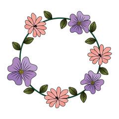 floral wreath leaves decoration natural vector illustration