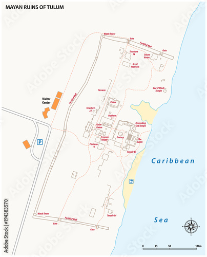 Vector map of the Mayan Ruins of Tulum, Mexico\