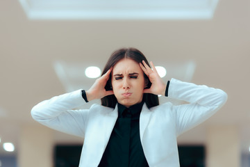 Stressed Business Woman in Pain Having Serious Headache