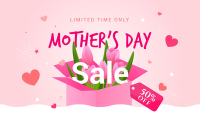 Wall Mural - Mother's Day Sale Template vector illustration, Hearts with Pink Tulips in gift box.