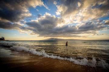Maui Sunset Person foreground
