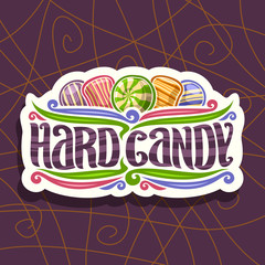 Vector logo for Hard Candy, on cut paper vintage signboard 5 variety striped drop candies up, original brush typeface for words hard candy and colorful flourishes on purple abstract background.
