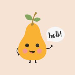 cute pear with inscription holi