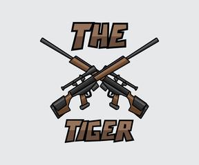 dual sniper cartoon style illustration design.cartoon style design