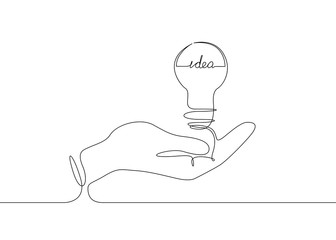 continuous line drawing light bulb symbol idea