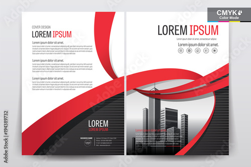brochure booklet cover layout design with red ribbon a4 size