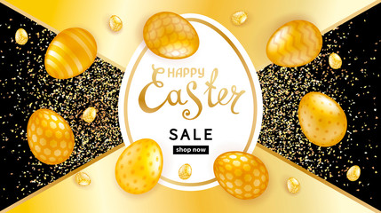 Easter sale black-golden background with shiny golden decorated eggs and glitters. Template for greeting cards, calendars, banners, posters, invitations, discount voucher, announcements of sales