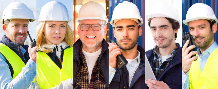 Portrait collection of different people working on construction site on high definition