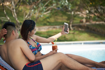 Taking Selfie at Luxurious Resort