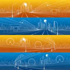 Transportation urban panorama set. Monorail railway. Train on the bridge. Illuminated highway. Skyline modern city at background. Business buildings. White lines on color background. Vector design art