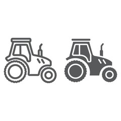 Tractor line and glyph icon, farming and agriculture, farm vehicle sign vector graphics, a linear pattern on a white background, eps 10.