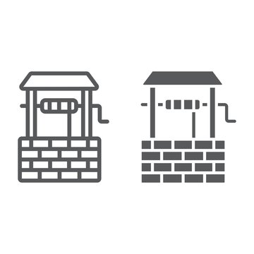Water Well line and glyph icon, farming and agriculture, rural sign vector graphics, a linear pattern on a white background, eps 10.