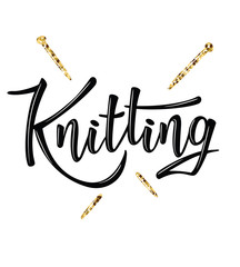 'Knitting' lettering logo for yarn store