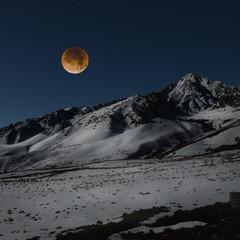 Super blue blood moon over Sierra Nevada Mountain range, California, America, USA