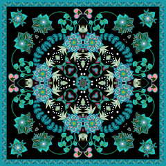 Design for square pocket, shawl, scarf, textile. Paisley floral pattern. Blue on black