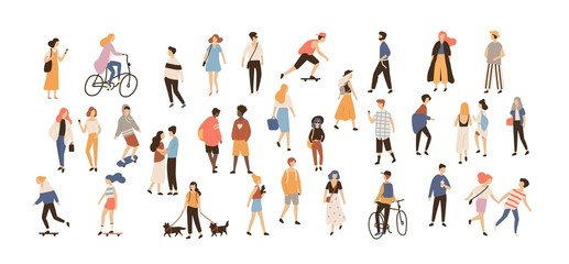 Crowd of people performing summer outdoor activities - walking dogs, riding bicycle, skateboarding. Group of male and female flat cartoon characters isolated on white background. Vector illustration. Fototapete