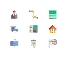 Building icons set. Deal and building icons with agent, price calculation and sold out. Set of elements including shipping for web app logo UI design.