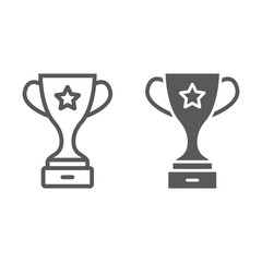 Champion cup award line and glyph icon, trophy and winner, victory sign vector graphics, a linear pattern on a white background, eps 10.