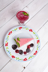 tasty cheesecake with smoothie