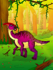 Parasaurolophus on the background of forest