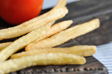 fried French fries and tomato