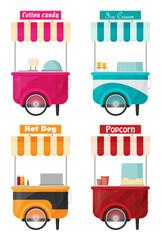 Carts set retail, kiosk on wheels flat vector