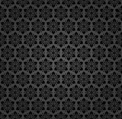 Floral vector dark ornament. Seamless abstract classic background with flowers. Pattern with repeating floral elements