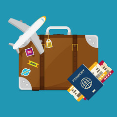 flat travel with airplane illustration design concept background. eps10 vector